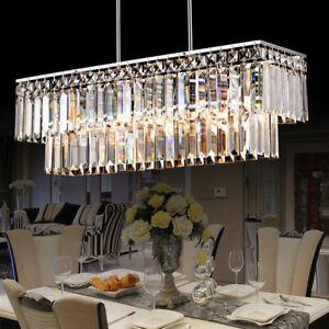 Modern Double Tier Crystal Pendant Light Rectangle Suspension Lamp Chandelier