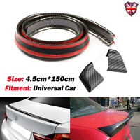 4.9 ft Universal Carbon Fiber PU Car Rear Roof Trunk Spoiler Wing Lip Sticker