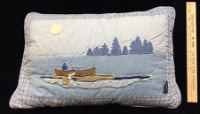 Woolrich Pillow Sham Blue Embroidered Fishing Boat Canoe on Lake Trees 19x12