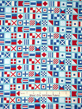 Nautical Fabric - Regatta Boat Flag Toss Blue Benertex Ships Ahoy #03053 - YARD