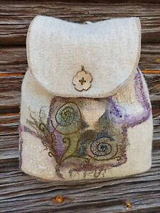 Felt bag-backpack for women handmade 100% wool