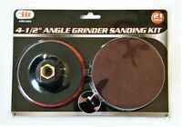 """21 PIECE 4-1/2"""" ILLINOIS INDUSTRIAL ANGLE GRINDER SANDING DISC BACKING PAD KIT"""