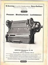Prospekt Maschinenfabrik R.Sonntag Gera - Zwötzen Presse Lochstanze Blechscheren
