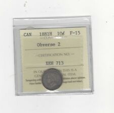 **1881H Obv#2**, ICCS  Graded Canadian,  10  Cent, **F-15**