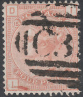 1876 SG152 4d VERMILION WATERMARK GARTER PLATE 15 FINE USED ABROAD (ID)