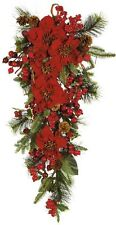 Nearly Natural 4656 Poinsettia Teardrop Wreath- Red/Green