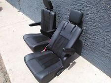 2 Black Leather Seats suede insert Truck Van Bus RV Hotrod Classic Car Jeep