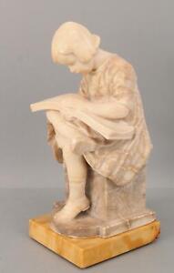 Antique German Signed Aktien-Gesellschaft Carved Marble Statue Girl Reading Book