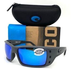 Costa Del Mar PERMIT Matte Gray / Blue Mirror 580G  62mm Polarized Sunglasses