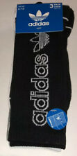 Adidas Crew Socks 3 Pair Men 6-12 Black White Gray Trefoil Logo 3 Moisture Wick