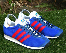 BNWB y genuino Adidas Originals Country OG Zapatillas Retro De Ante Azul tamaño de Reino Unido 11