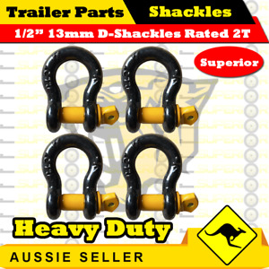 """1/2"""" 13mm Black D-Shackle Rated (Yellow Pin) 2000kg - Boat Trailer Marine - 4PCS"""