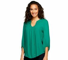 G.I.L.I. 3/4 Sleeve Woven Crepe Blouse with Neck Detail NWOT SIZE 10 QVC $57