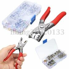 100 9.5mm Metal Ring Button Snap Studs Fastener w/hand pressing pliers Tool Kit