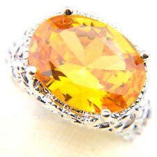 Woman Gorgeous Shiny Natural Huge Golden Citrine Gemstone Silver Ring Size 7 8 9