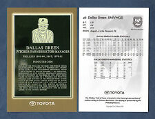 "DALLAS GREEN, Toyota Motor Company / Phillies All-Time Team 4""x 6"" postcard size"