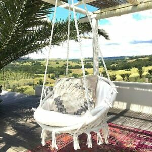 Swing&Hanging Chair,Knitted by Cotton Rope with Fringes Macrame Hammock Garden