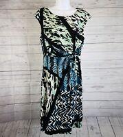Dana Buchman Womens Waist Twist Dress Sz Medium Black Green Sleeveless