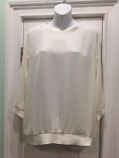 Express Women's Semi-Sheer Cream/Ivory 3/4 Sleeve Blouse Medium
