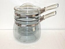ORIGINAL VINTAGE PYREX FLAMEWARE DOUBLE BOILER  1-1/2  QT BLUE TINT BUBBLE NICE