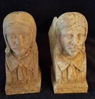 Ancienne Paire De Chenet En Fonte Personnage Visage Aristocrate