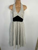 WOMENS DOLLY&DOTTY WHITE/BLACK SPOTTED HALTERNECK 50'S VINTAGE FLARED DRESS UK10
