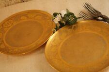 "Stouffer Gold China Plate Gilt Encrusted Set of 2 Bavaria Art Nouveau Florals 8"""