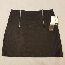 Kensie Womens Mini Skirt M Black Faux Suede Zippered Pencil Casual Medium New