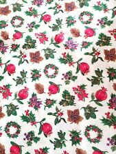 """VIP Christmas Wreath Pomegranite Holly Cotton Quilt Sewing Fabric 3/4ydX45"""""""