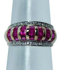 Vintage Princess Ruby Diamond Ring 14K Gold Estate Jewelry with tags