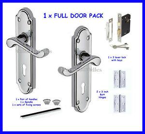 Polished Chrome Lock Door Handles Ashford Ashworth Victorian Scroll handle D14