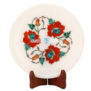 6'' Marble White Plate Carnelian Floral Inlaid Semi Precious Gifts Decor H3584