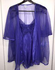 Sopre Lingerie Plus Size 3x Purple Robe & Nightgown Negligee Lace Set Chiffon