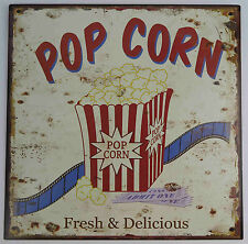 Targa di latta Popcorn fresco & DELIZIOSO NOSTALGIA ANTICO CINEMA filmeabend