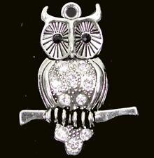 40mm Antique Silver Pewter Rhinestone Owl Charm Pendant  ~ Lead Free ~