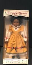 Hearts And Memories Porcelain Doll 18� Black American Gold Dressed Doll w/Box 35