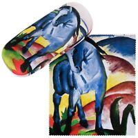 Brillenetui Franz Marc Blaues Pferd  Box Kunst Set mit Putztuch Stabil Leicht