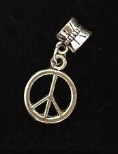 Silver Peace Symbol dangle charm bead spacer fits Authentic European bracelet