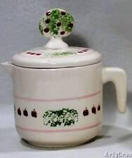 Vintage Levine Pottery CREAMER With Lid Hand Painted Apple Tree 1968