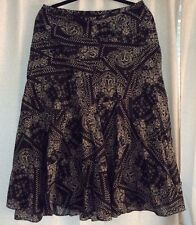 Ralph Lauren Women's Boho Skirt Black White Paisley lined 10