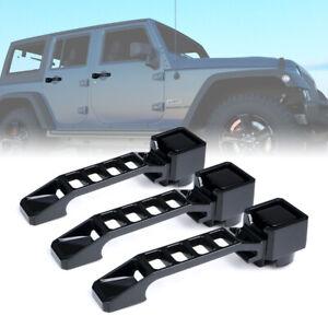 Xprite 3pcs Black Aluminum Exterior Door Handles Set for 07-18 Jeep Wrangler JK