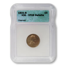 USA Lincoln Wheat Cent 1c 1931 S ICG VF25 Details Cleaned Key Date Penny