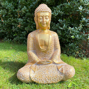 Seated Buddha Antique Gold Sitting Thai Garden Ornament Statue Extra Large Gift