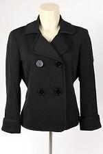 WOW! Talbots Women's Petites 10P Black 4 Bttn Cotton-Silk Jacket Blazer Peacoat