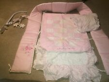 Girls Pink Floral Nursery Crib Bedding Set Pink & White Quilt Flowers Butterfly