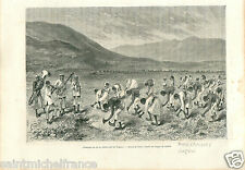 Plantation Rice Tagaloes Luçon Philippines Asia GRAVURE ANTIQUE OLD PRINT 1884
