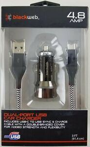 Blackweb Dual Port USB Car Charger with 3' Micro-USB Cable, Black