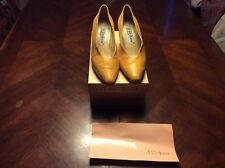 Vintage D'rossanna by Charna Yellow Snake Skin Print Pumps in Box 6.5M Leather