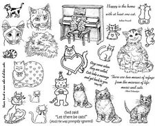 Unmounted Rubber Stamp Sheets, Cat Stamps, Cats, Humorous, Cat Sayings & Quotes