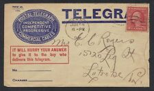 US 1908 POSTAL TELEGRAM COMPANY COVER FRANKED 2¢ WASH DERRY PA TO LATROBE RARE